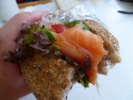 Smoked salmon baguette for the Doubtful Sound cruise.