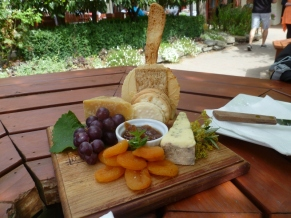 Cheese platter at the Gibbston Valley Cheese Company.
