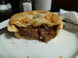 Lamb and mint pie at Cafe 39, Hokitika.