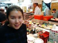 Sushi train at Tsukiji Fish Market, Tokyo